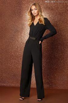 Mela London Long Sleeve Belted Jumpsuit