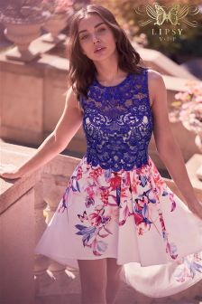 Lipsy VIP Lace Top Placement Print Prom Dress