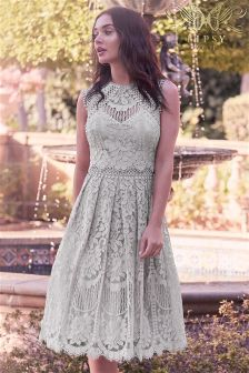 Lipsy VIP Embroidered Lace Prom Dress