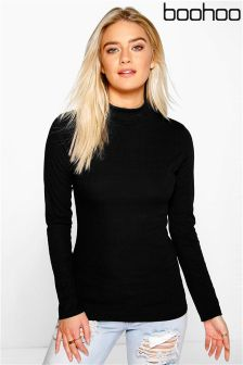 Boohoo Turtle Neck Rib Knit Jumper