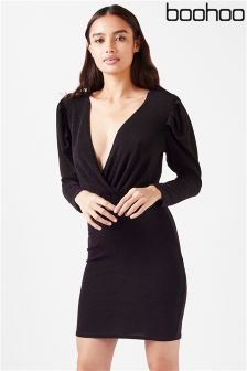 Boohoo Plunge Front Dress