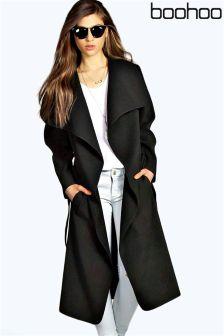 Boohoo Belted Shawl Collar Coat