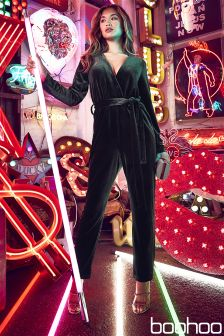 Boohoo Velvet Tailored Jumpsuit