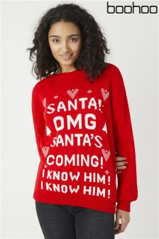 Boohoo Emmy Santa's Coming Christmas Jumper