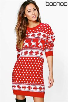 Boohoo Lottie Reindeers & Snowflake Christmas Jumper Dress