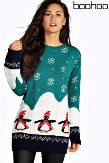 Boohoo Willow Penguin Christmas Jumper