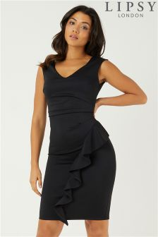 Lipsy Sleeveless Ruffle Front Bodycon Dress