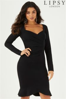 Lipsy Long Sleeve Ruched Flute Hem Bodycon Dress
