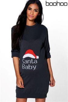 Boohoo Maternity Jenny Santa Baby Christmas Dress