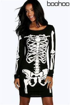 Boohoo Skeleton Bodycon Dress