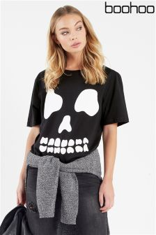 Boohoo Skull Long Line Tee Dress
