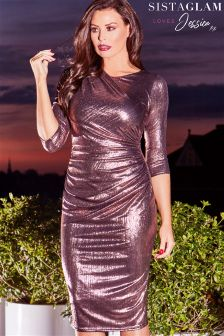 Jessica Wright Midi Ruched Bodycon Dress