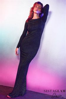Jessica Wright Glitter Long Sleeve Maxi Dress