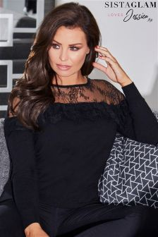 Jessica Wright Lace Frill Long Sleeve Knitted Jumper