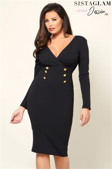 Jessica Wright Wrap Front Button Detail Bodycon Dress