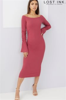 Lost Ink Bardot Jersey Dress