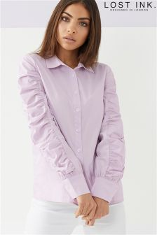 Lost Ink Ruched Sleeve Shirt