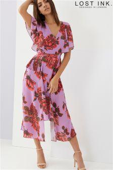 Lost Ink Printed Asymmetric Dress