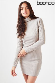 Boohoo Ribbed High Neck Bodycon Dress