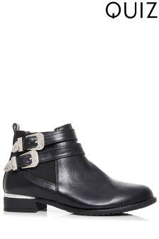 Quiz Western Buckle Flat Boots