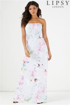 Lipsy Floral Printed Shirred Bandeau Maxi Dress