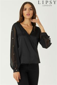 Lipsy Button Sleeve Satin Wrap Blouse