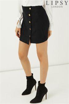 Lipsy Suedette Button Mini Skirt