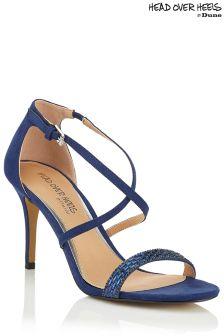 Head Over Heels Cross Strap Embellished Vamp Sandals
