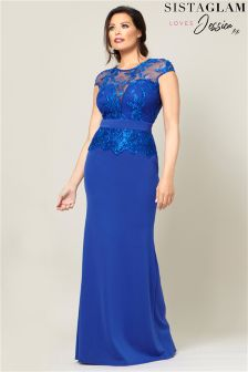 Sistaglam Loves Jessica Lace Embroidered Maxi Dress