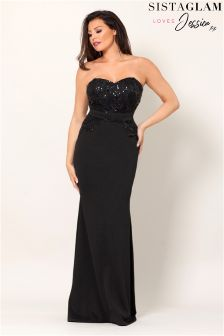 Jessica Wright Bandeau Sequin Lace Maxi Dress