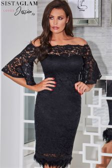 Jessica Wright Bardot Lace Frill Bodycon Dress