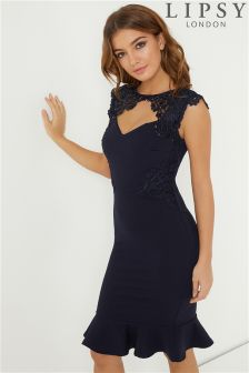 Lipsy Side Sequin Lace Bodycon Dress
