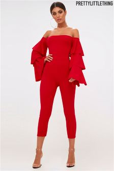 PrettyLittleThing Ruffle Tiered Sleeve Jumpsuit