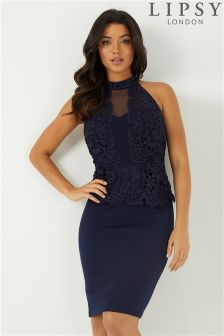 Lipsy Halter Neck Lace Peplum Bodycon Dress