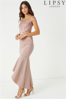 Lipsy Sequin Embellished Bardot Maxi Dress