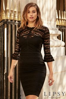 Lipsy Ruffle Lace Long Sleeve Bodycon Dress