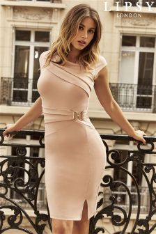 Lipsy Side Buckle Pleat Bodycon Dress