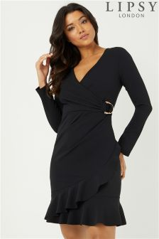 Lipsy Wrap Front Side Buckle Dress