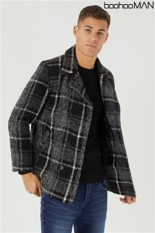 Boohoo Man Brushed Check Peacoat