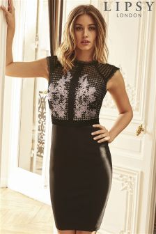 Lipsy Appliqué Lace All Over Bodycon Dress