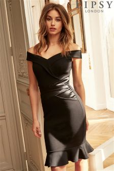 Lipsy Petite Satin Panel Bardot Bodycon Dress