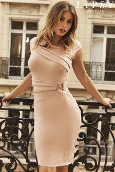 Lipsy Petite Side Buckle Pleat Bodycon Dress