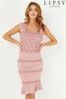 Lipsy Lace Flute Hem Bodycon Dress