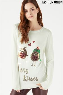 Fashion Union Novelty Xmas Robin Jumper