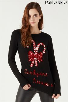Fashion Union Novelty Candy Cane Jumper
