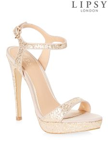Lipsy Barely There Glitter Platform Sandals
