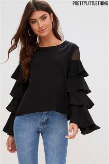 PrettyLittleThing Ruffle Mesh Sleeved Blouse