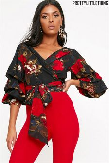 PrettyLittleThing Floral Ruffle Sleeve Tie Waist Blouse