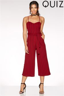 Quiz Stripe Tie Belt Culotte Jumpsuit