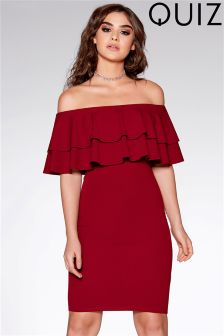 Quiz Berry Double Frill Bardot Bodycon Dress